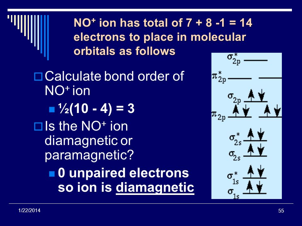 55 1/22/2014 NO + ion has total of 7 + 8 -1 = 14 electrons to place in molecular orbitals as follows Calculate bond order of NO + ion ½(10 - 4) = 3 Is