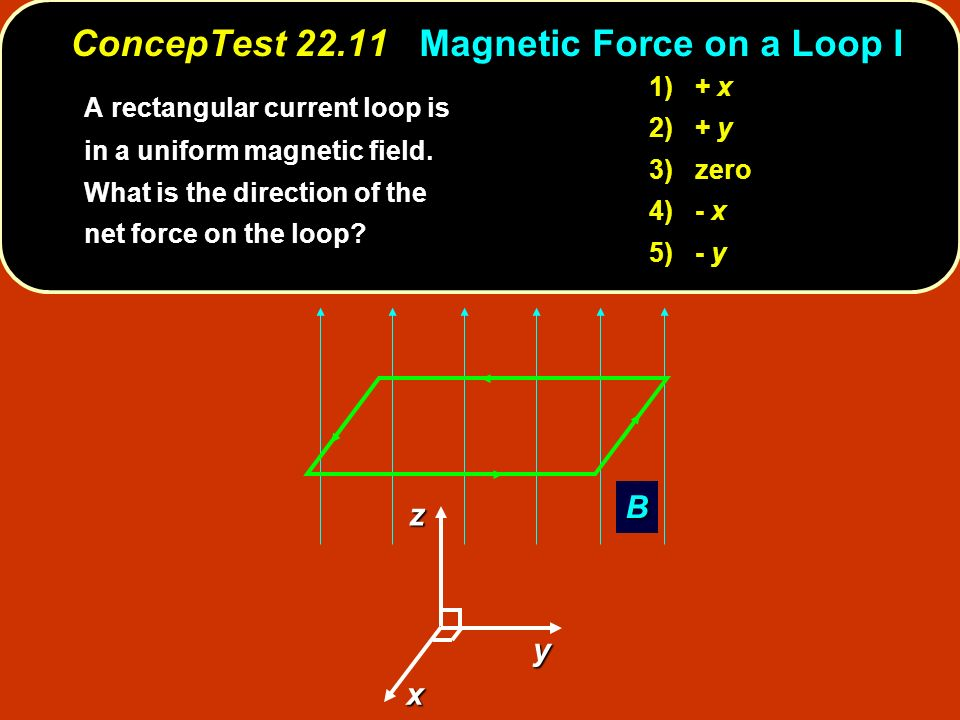 ConcepTest 22.11 Magnetic Force on a Loop I B x z y A rectangular current loop is in a uniform magnetic field.