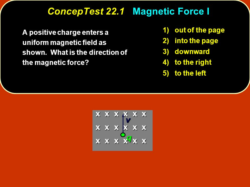ConcepTest 22.1 Magnetic Force I 1) out of the page 2) into the page 3) downward 4) to the right 5) to the left A positive charge enters a uniform mag