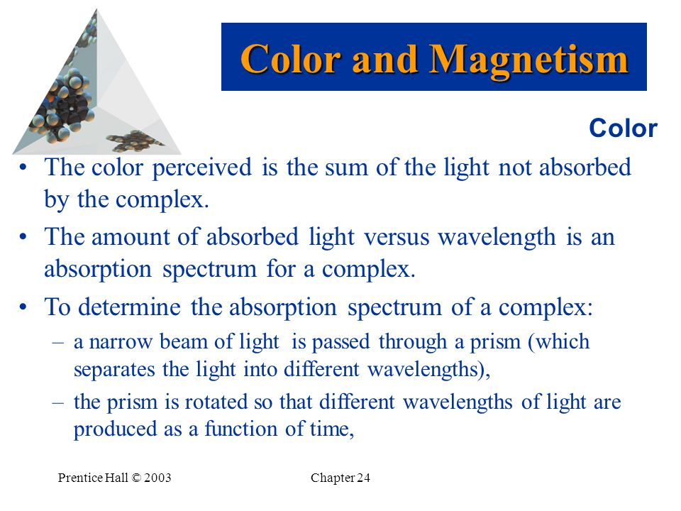 Prentice Hall © 2003Chapter 24 Color The color perceived is the sum of the light not absorbed by the complex. The amount of absorbed light versus wave
