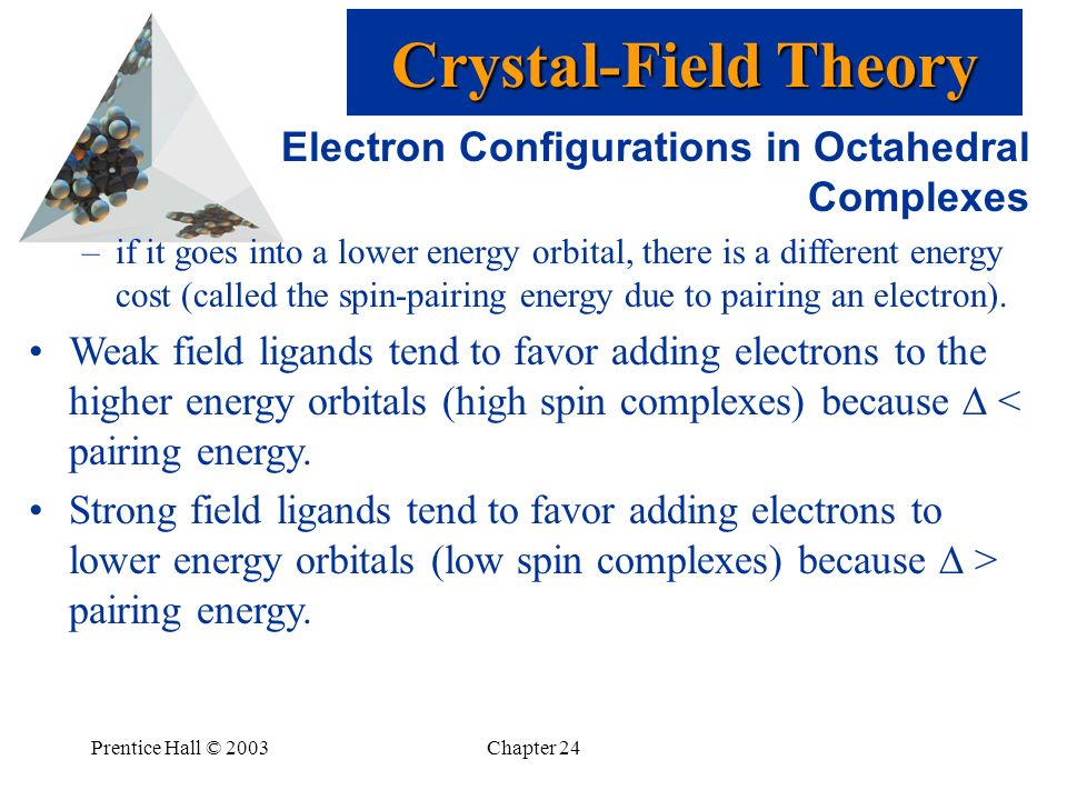 Prentice Hall © 2003Chapter 24 Electron Configurations in Octahedral Complexes –if it goes into a lower energy orbital, there is a different energy co