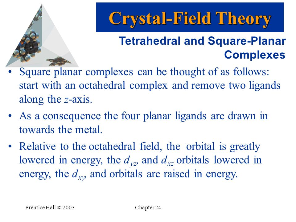 Prentice Hall © 2003Chapter 24 Tetrahedral and Square-Planar Complexes Square planar complexes can be thought of as follows: start with an octahedral