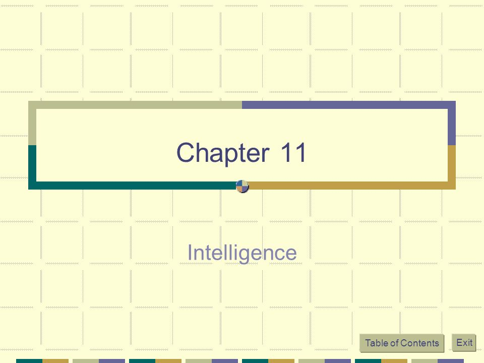 Table of Contents Exit Chapter 11 Intelligence
