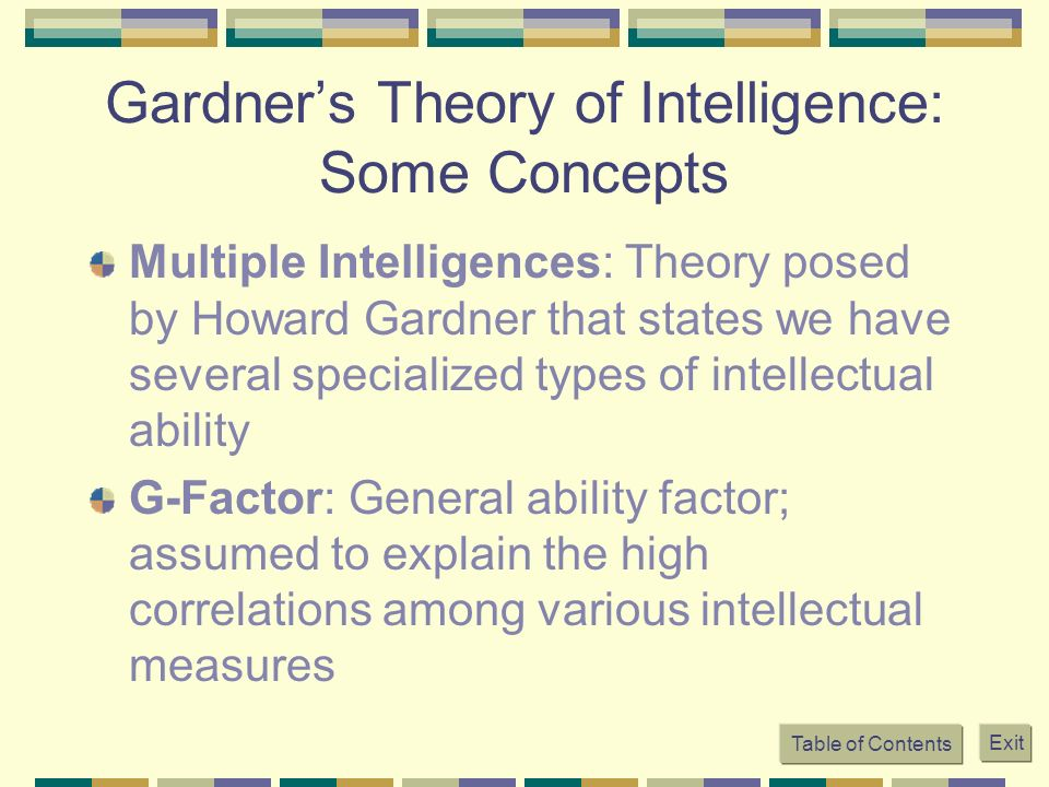 Table of Contents Exit Gardners Theory of Intelligence: Some Concepts Multiple Intelligences: Theory posed by Howard Gardner that states we have sever