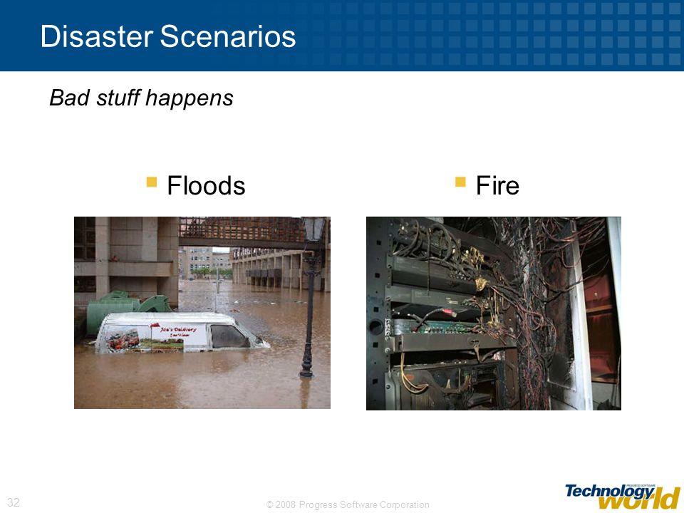 © 2008 Progress Software Corporation 32 Disaster Scenarios Floods Fire Bad stuff happens