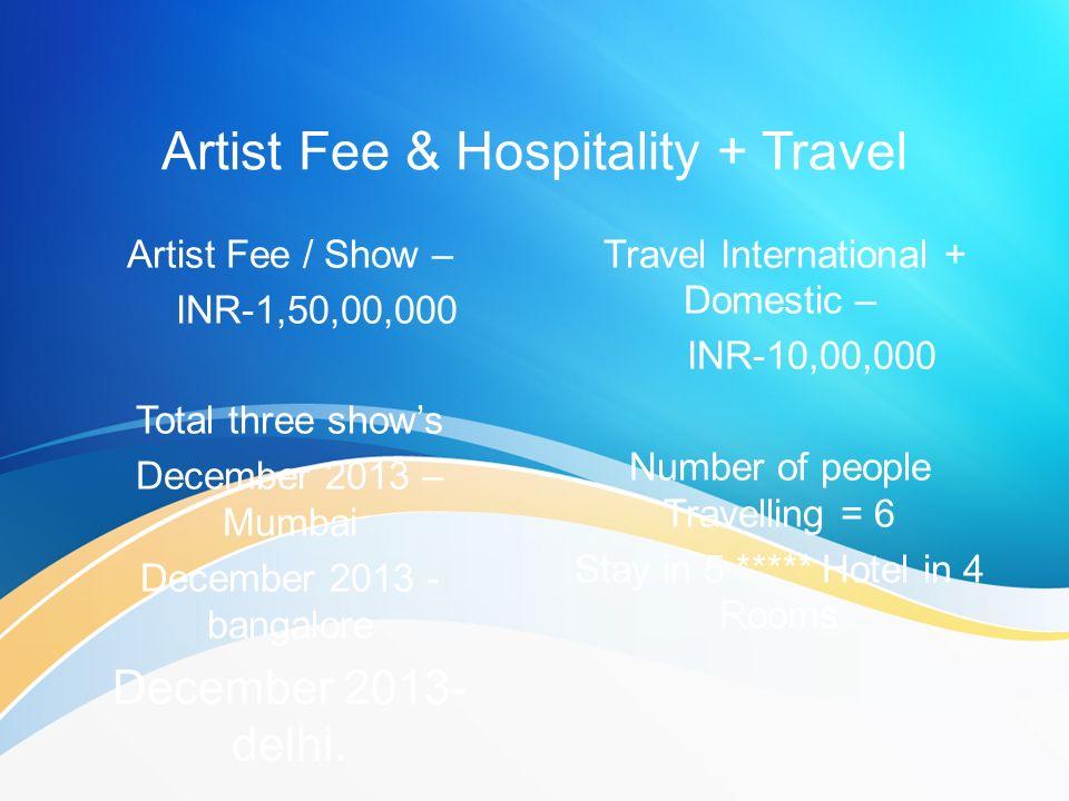 Artist Fee & Hospitality + Travel Artist Fee / Show – INR-1,50,00,000 Total three shows December 2013 – Mumbai December 2013 - bangalore December 2013