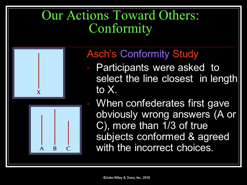 ©John Wiley & Sons, Inc. 2010 Our Actions Toward Others: Conformity Aschs Conformity Study Participants were asked to select the line closest in lengt