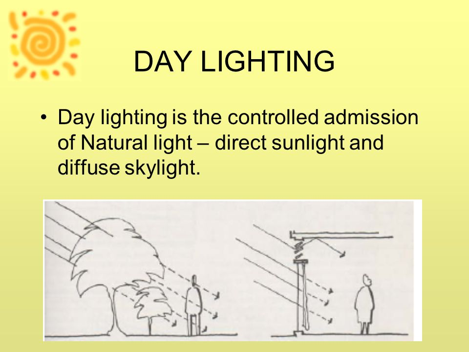 DAY LIGHTING Day lighting is the controlled admission of Natural light – direct sunlight and diffuse skylight.