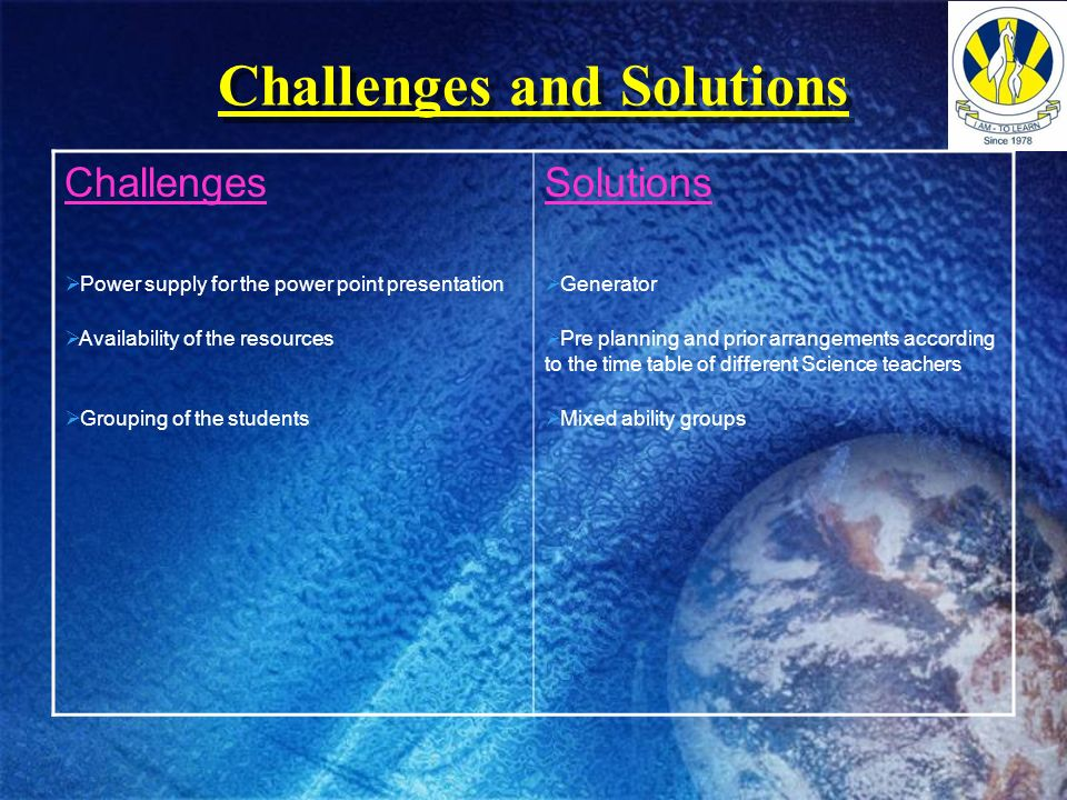 Challenges and Solutions Challenges Power supply for the power point presentation Availability of the resources Grouping of the students Solutions Gen