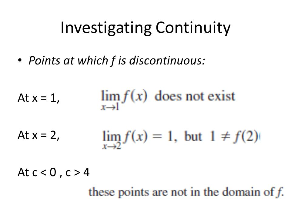 Investigating Continuity Points at which f is discontinuous: At x = 1, At x = 2, At c 4