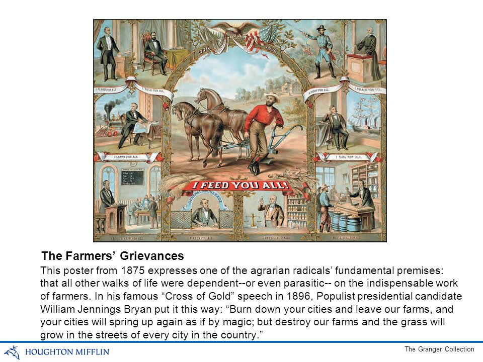 This poster from 1875 expresses one of the agrarian radicals fundamental premises: that all other walks of life were dependent--or even parasitic-- on the indispensable work of farmers.