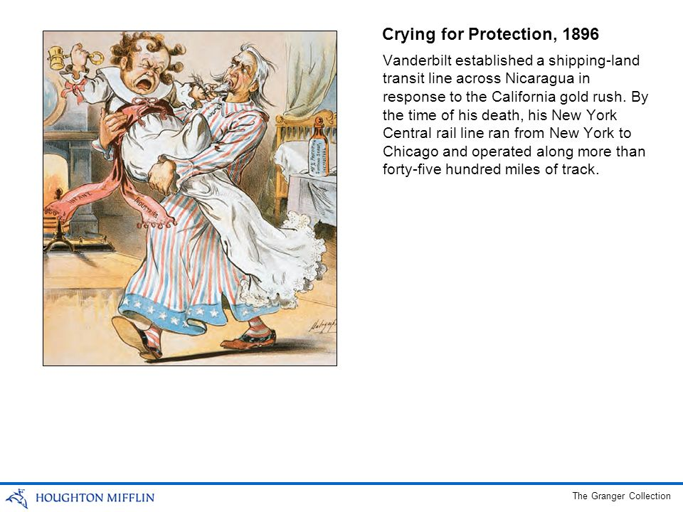 Crying for Protection, 1896 Vanderbilt established a shipping-land transit line across Nicaragua in response to the California gold rush. By the time