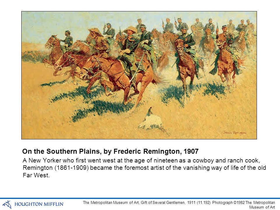 A New Yorker who first went west at the age of nineteen as a cowboy and ranch cook, Remington (1861-1909) became the foremost artist of the vanishing way of life of the old Far West.