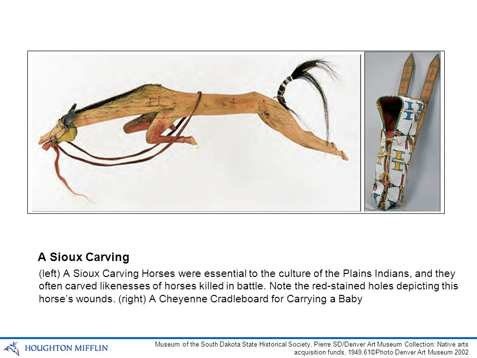 (left) A Sioux Carving Horses were essential to the culture of the Plains Indians, and they often carved likenesses of horses killed in battle.