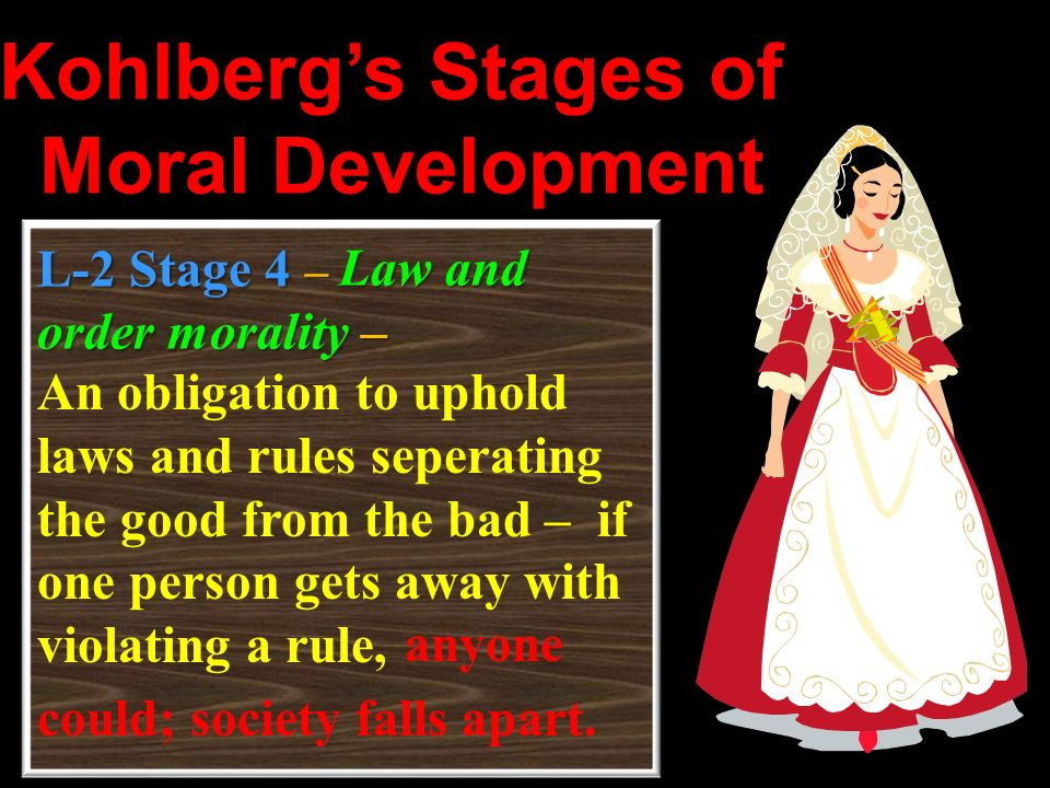 L-2 Stage 4– Law and order morality – An obligation to uphold laws and rules seperating the good from the bad – if one person gets away with violating