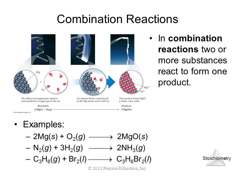 Stoichiometry © 2012 Pearson Education, Inc. Combination Reactions Examples: –2Mg(s) + O 2 (g) 2MgO(s) –N 2 (g) + 3H 2 (g) 2NH 3 (g) –C 3 H 6 (g) + Br