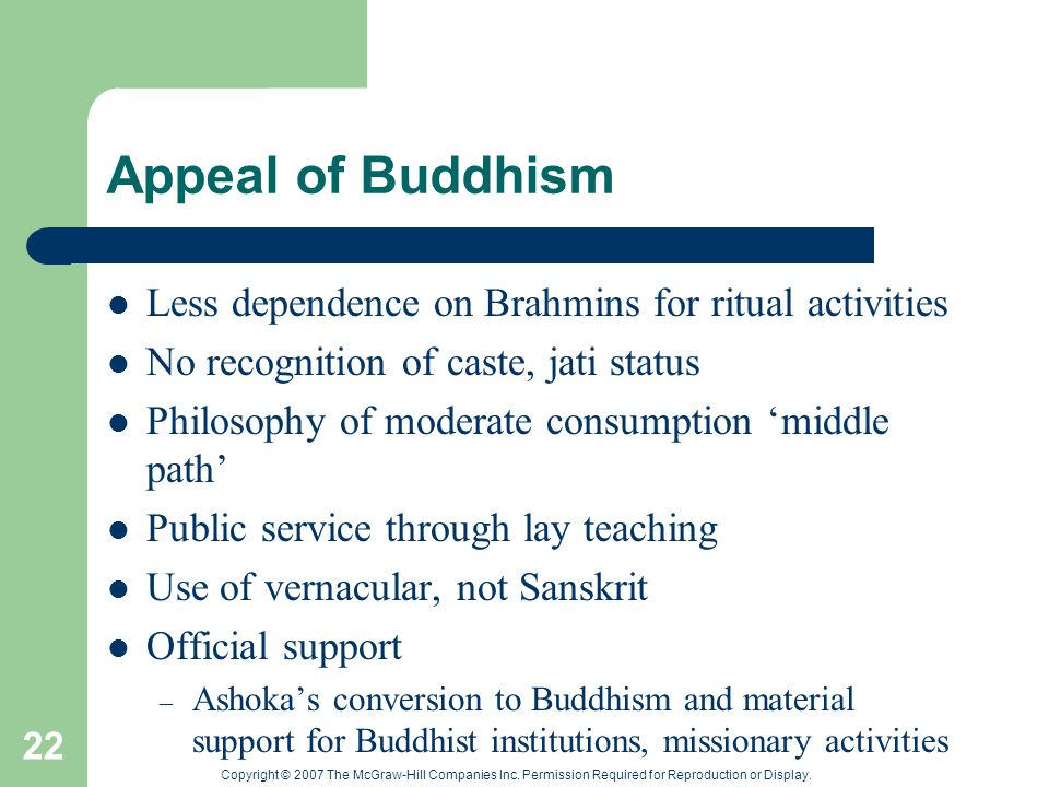 Copyright © 2007 The McGraw-Hill Companies Inc. Permission Required for Reproduction or Display. 22 Appeal of Buddhism Less dependence on Brahmins for