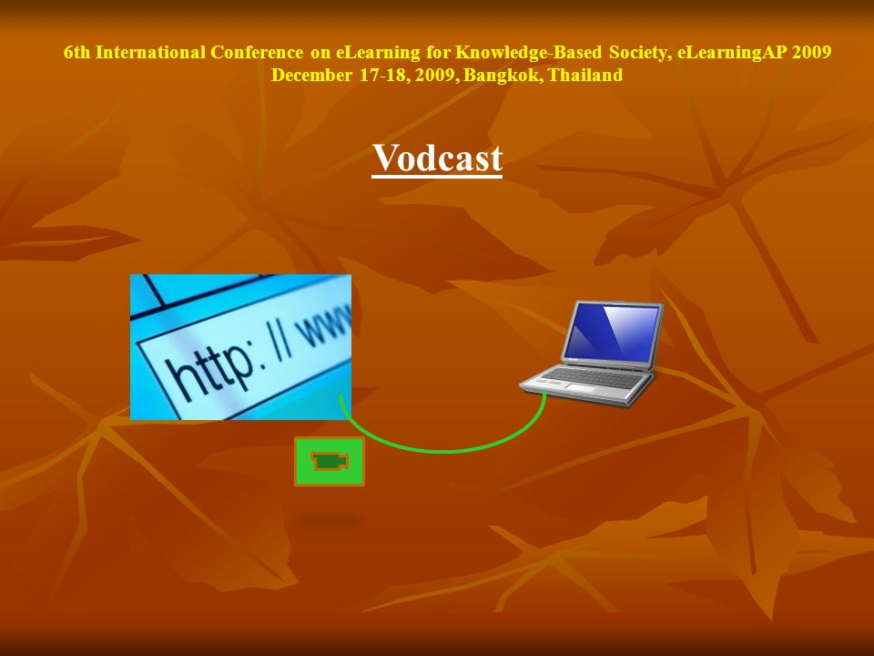 Vodcast 6th International Conference on eLearning for Knowledge-Based Society, eLearningAP 2009 December 17-18, 2009, Bangkok, Thailand