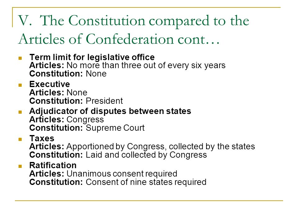 V. The Constitution compared to the Articles of Confederation cont… Term limit for legislative office Articles: No more than three out of every six ye