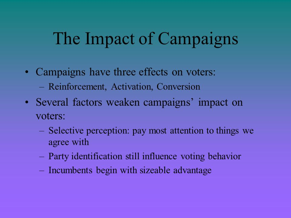 The Impact of Campaigns Campaigns have three effects on voters: –Reinforcement, Activation, Conversion Several factors weaken campaigns impact on vote