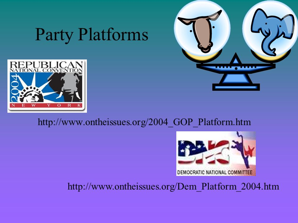 Party Platforms http://www.ontheissues.org/2004_GOP_Platform.htm http://www.ontheissues.org/Dem_Platform_2004.htm