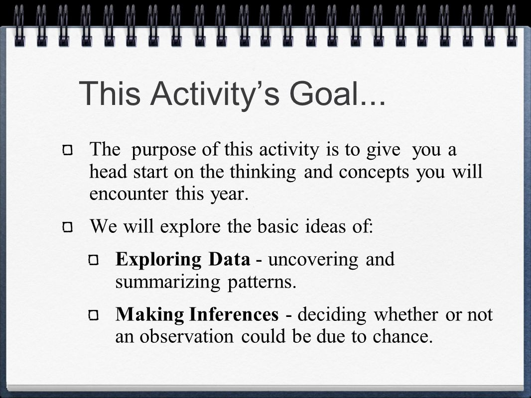 This Activitys Goal... The purpose of this activity is to give you a head start on the thinking and concepts you will encounter this year. We will exp