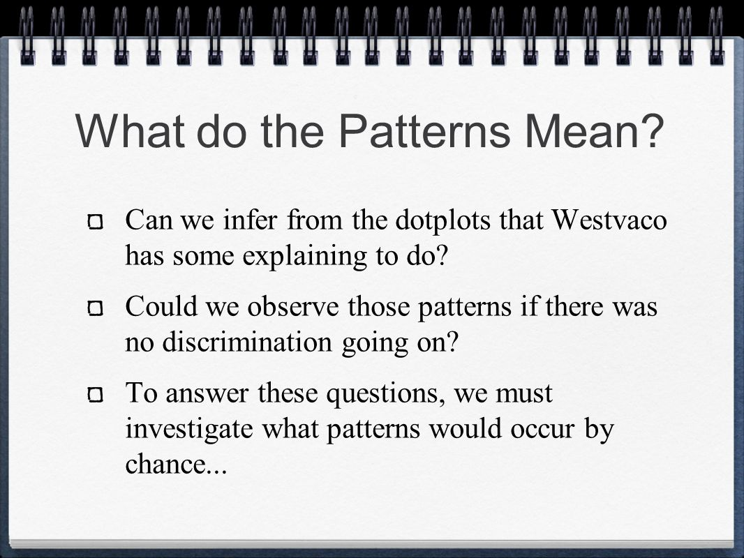 What do the Patterns Mean? Can we infer from the dotplots that Westvaco has some explaining to do? Could we observe those patterns if there was no dis