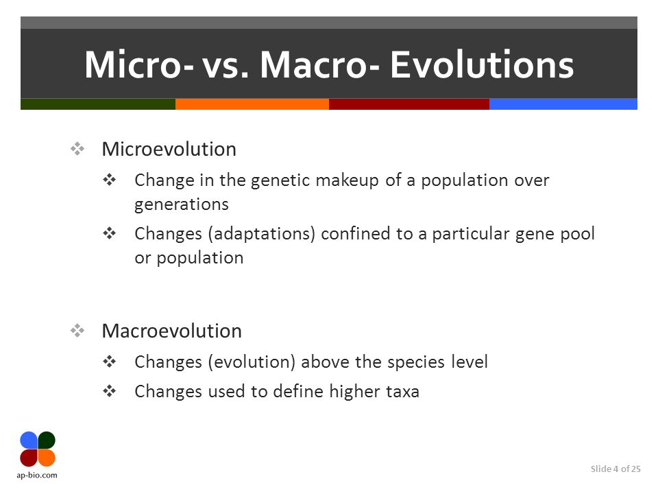 Slide 4 of 25 Micro- vs. Macro- Evolutions Microevolution Change in the genetic makeup of a population over generations Changes (adaptations) confined