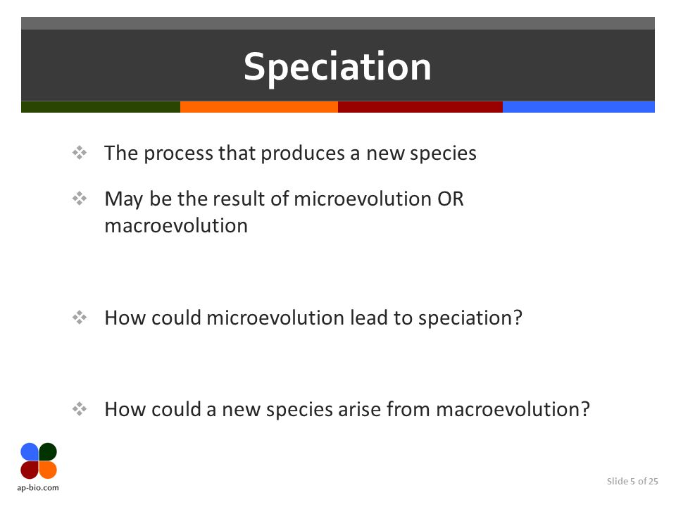 Slide 5 of 25 Speciation The process that produces a new species May be the result of microevolution OR macroevolution How could microevolution lead to speciation.