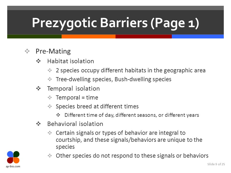 Slide 9 of 25 Prezygotic Barriers (Page 1) Pre-Mating Habitat isolation 2 species occupy different habitats in the geographic area Tree-dwelling speci