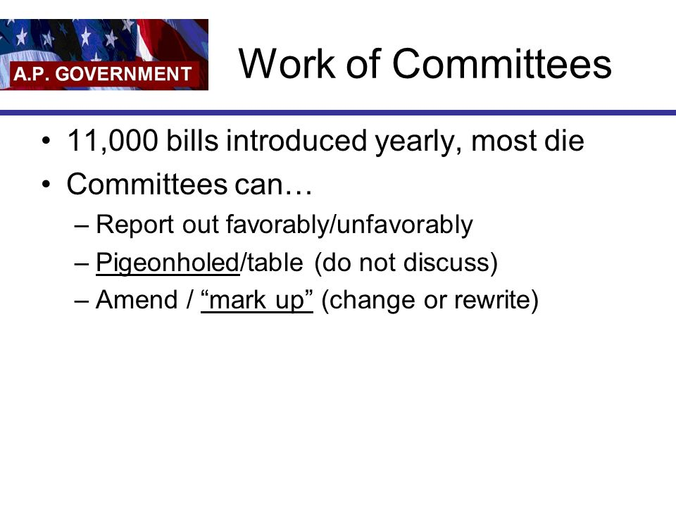 Work of Committees 11,000 bills introduced yearly, most die Committees can… –Report out favorably/unfavorably –Pigeonholed/table (do not discuss) –Ame
