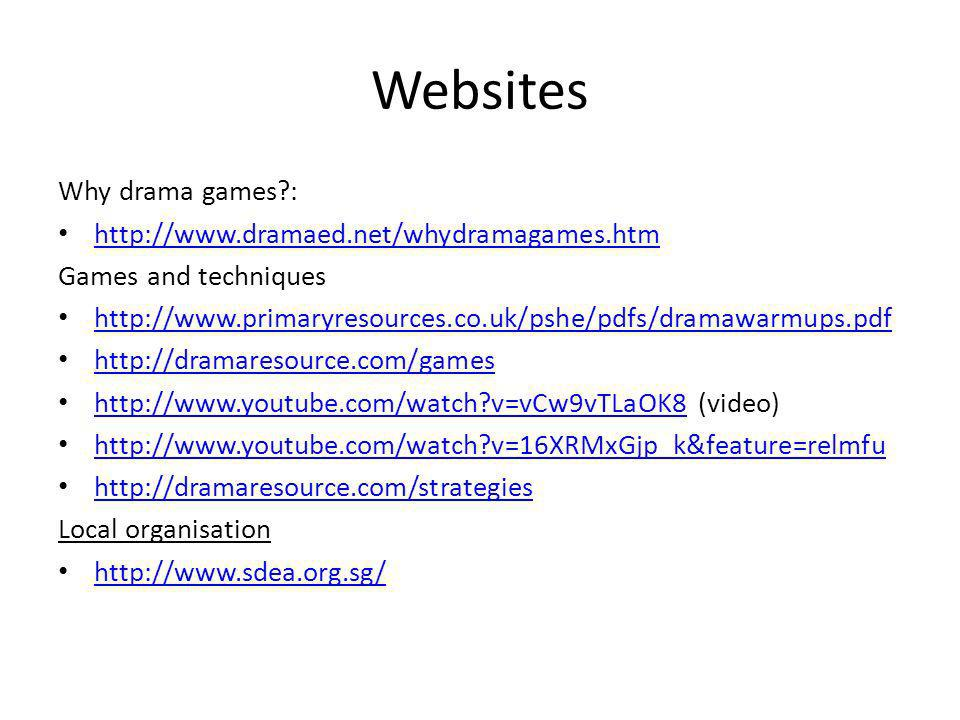 Websites Why drama games?: http://www.dramaed.net/whydramagames.htm Games and techniques http://www.primaryresources.co.uk/pshe/pdfs/dramawarmups.pdf