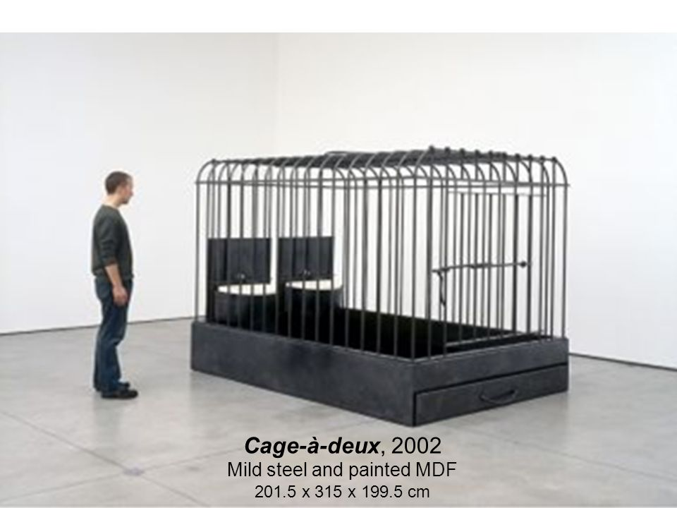 32 Cage-à-deux, 2002 Mild steel and painted MDF 201.5 x 315 x 199.5 cm