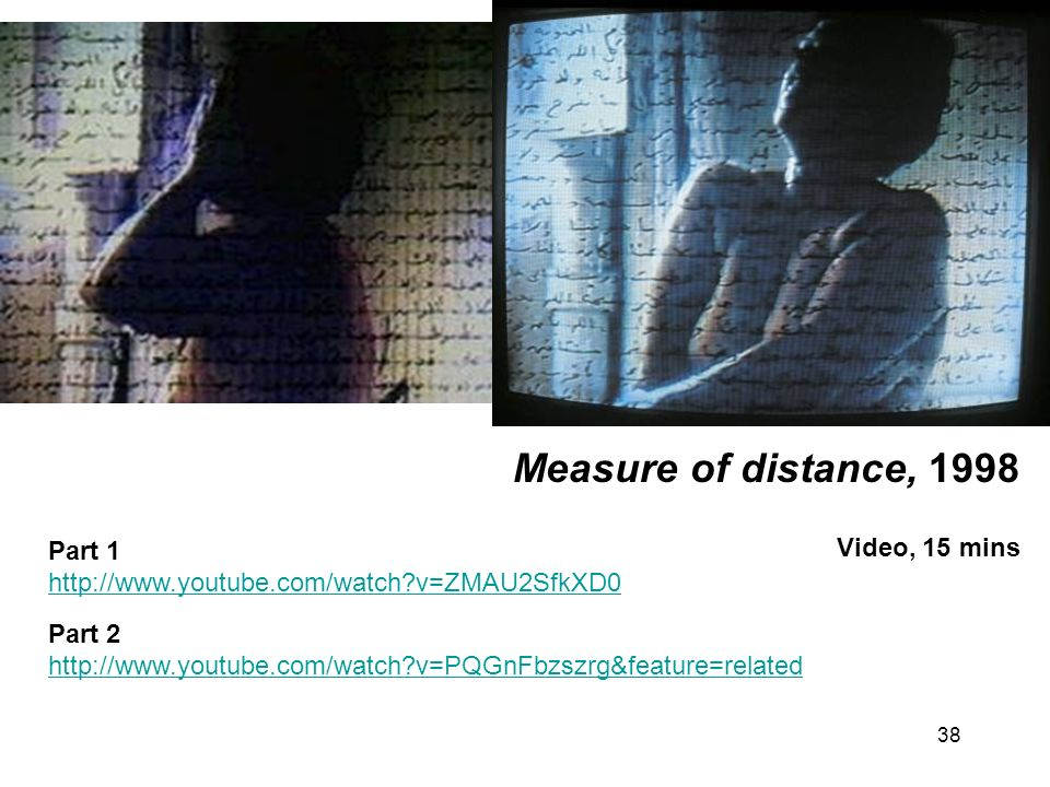38 Measure of distance, 1998 Video, 15 mins Part 1 http://www.youtube.com/watch?v=ZMAU2SfkXD0 Part 2 http://www.youtube.com/watch?v=PQGnFbzszrg&featur