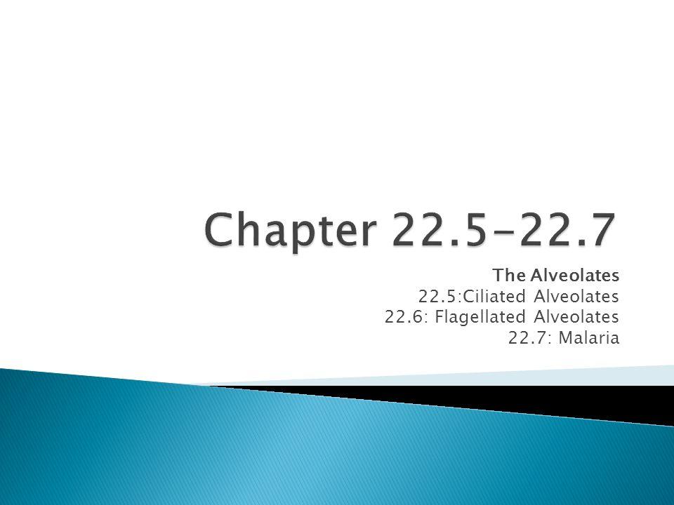 The Alveolates 22.5:Ciliated Alveolates 22.6: Flagellated Alveolates 22.7: Malaria
