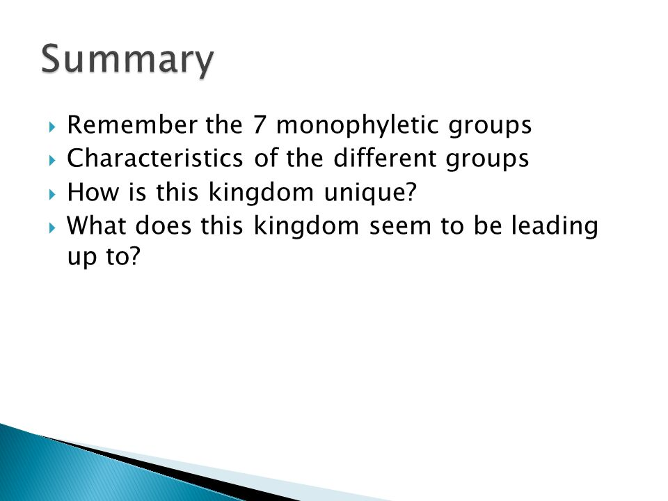 Remember the 7 monophyletic groups Characteristics of the different groups How is this kingdom unique? What does this kingdom seem to be leading up to