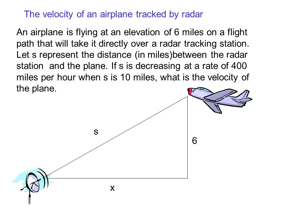 The velocity of an airplane tracked by radar An airplane is flying at an elevation of 6 miles on a flight path that will take it directly over a radar