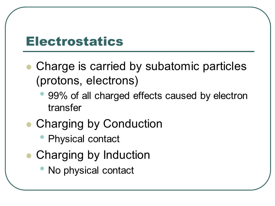 Electrostatics Charge is carried by subatomic particles (protons, electrons) 99% of all charged effects caused by electron transfer Charging by Conduc