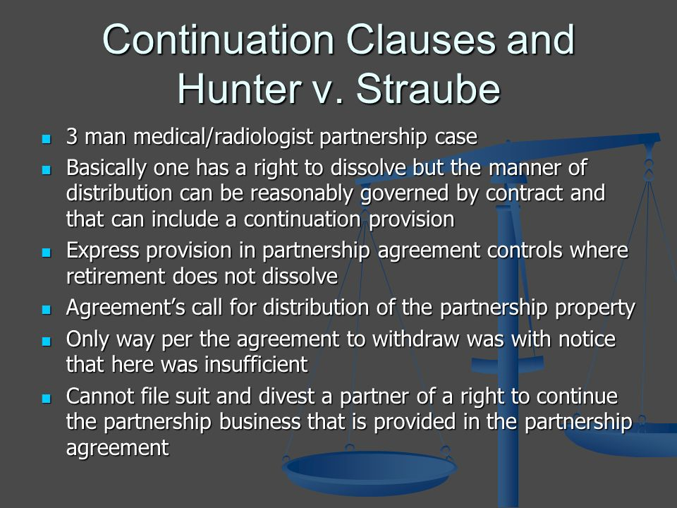 Continuation Clauses and Hunter v.