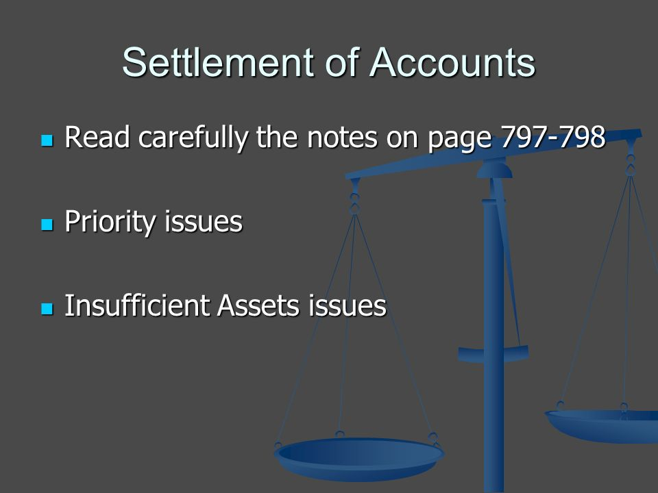 Settlement of Accounts Read carefully the notes on page 797-798 Read carefully the notes on page 797-798 Priority issues Priority issues Insufficient Assets issues Insufficient Assets issues