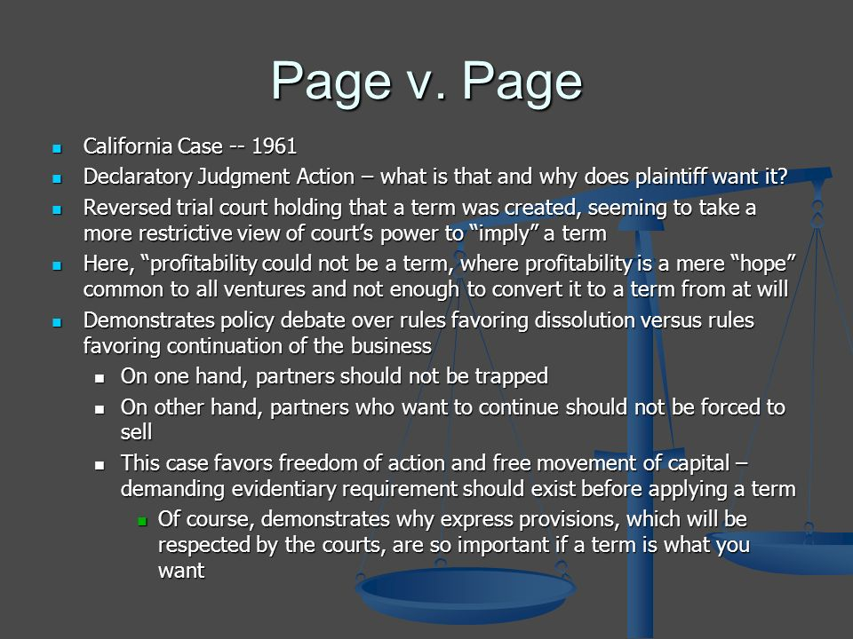 Page v. Page California Case -- 1961 California Case -- 1961 Declaratory Judgment Action – what is that and why does plaintiff want it? Declaratory Ju
