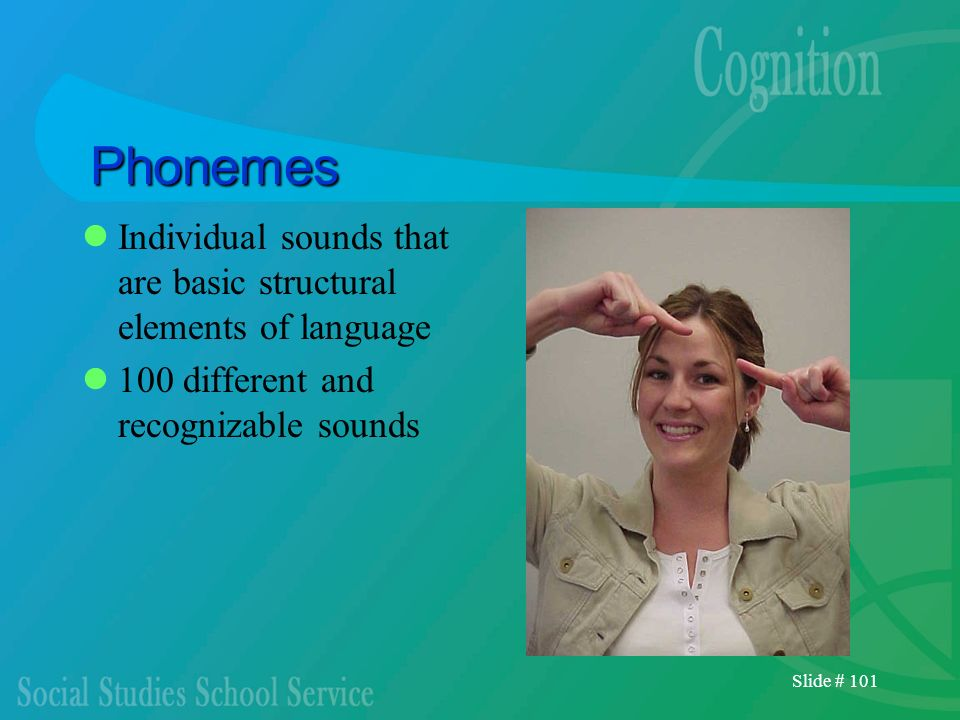 Slide # 101 Phonemes Individual sounds that are basic structural elements of language 100 different and recognizable sounds