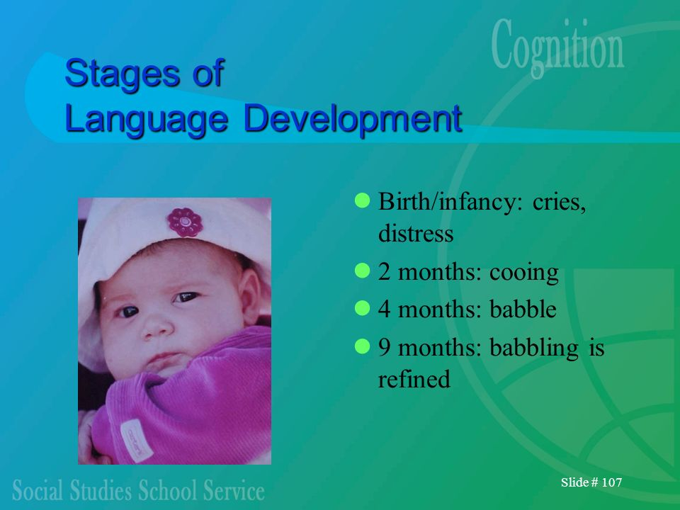 Slide # 107 Stages of Language Development Birth/infancy: cries, distress 2 months: cooing 4 months: babble 9 months: babbling is refined