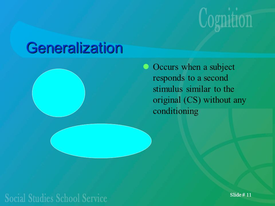 Slide # 11 Generalization Occurs when a subject responds to a second stimulus similar to the original (CS) without any conditioning