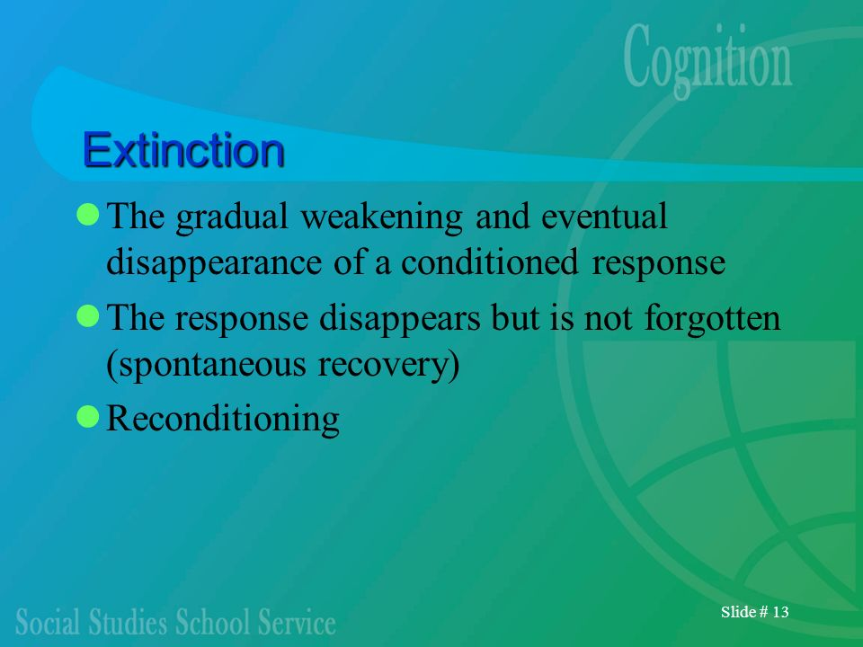 Slide # 13 Extinction The gradual weakening and eventual disappearance of a conditioned response The response disappears but is not forgotten (spontan