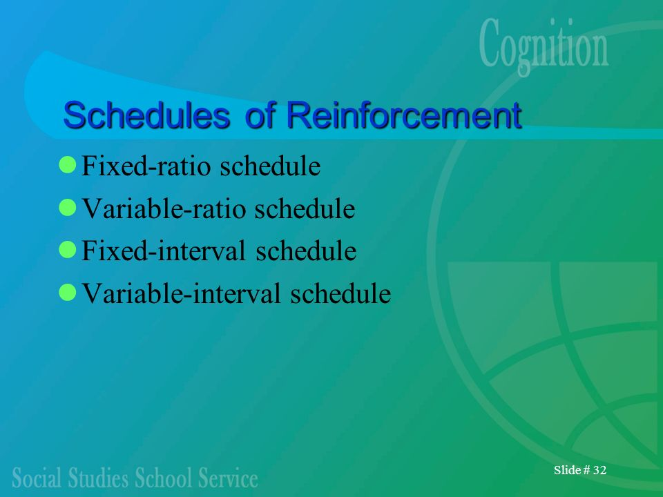 Slide # 32 Schedules of Reinforcement Fixed-ratio schedule Variable-ratio schedule Fixed-interval schedule Variable-interval schedule