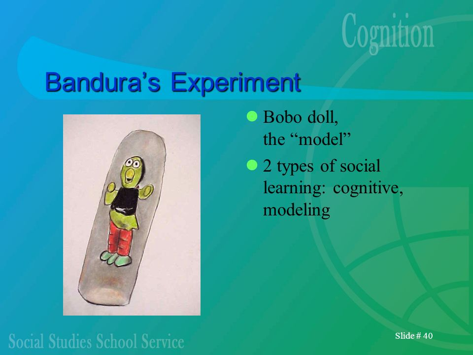 Slide # 40 Banduras Experiment Bobo doll, the model 2 types of social learning: cognitive, modeling