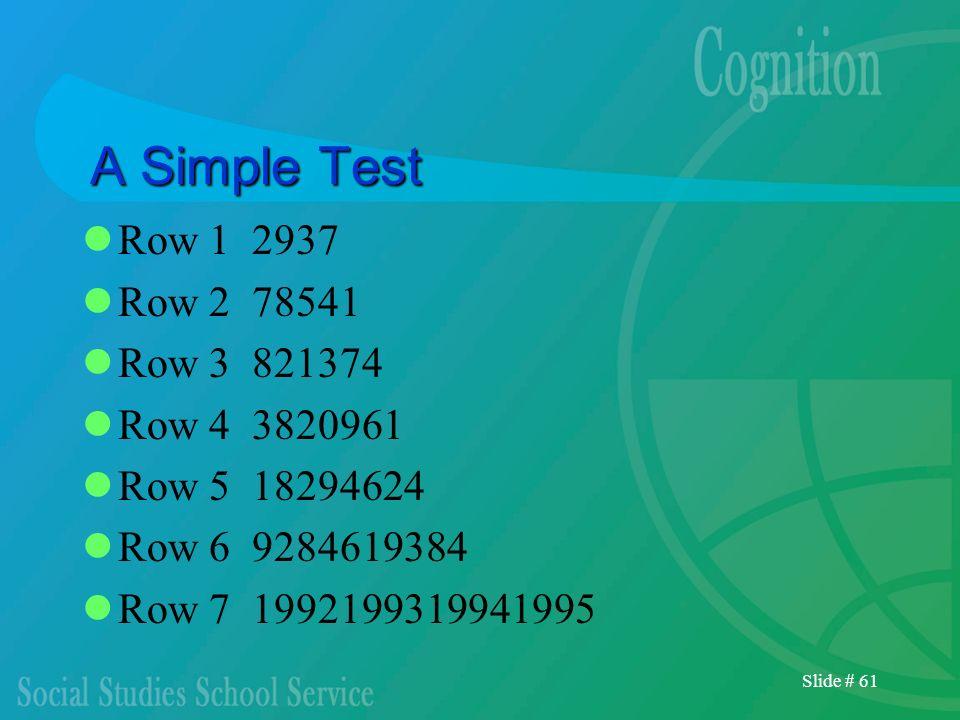 Slide # 61 A Simple Test Row 1 2937 Row 2 78541 Row 3 821374 Row 4 3820961 Row 5 18294624 Row 6 9284619384 Row 7 1992199319941995