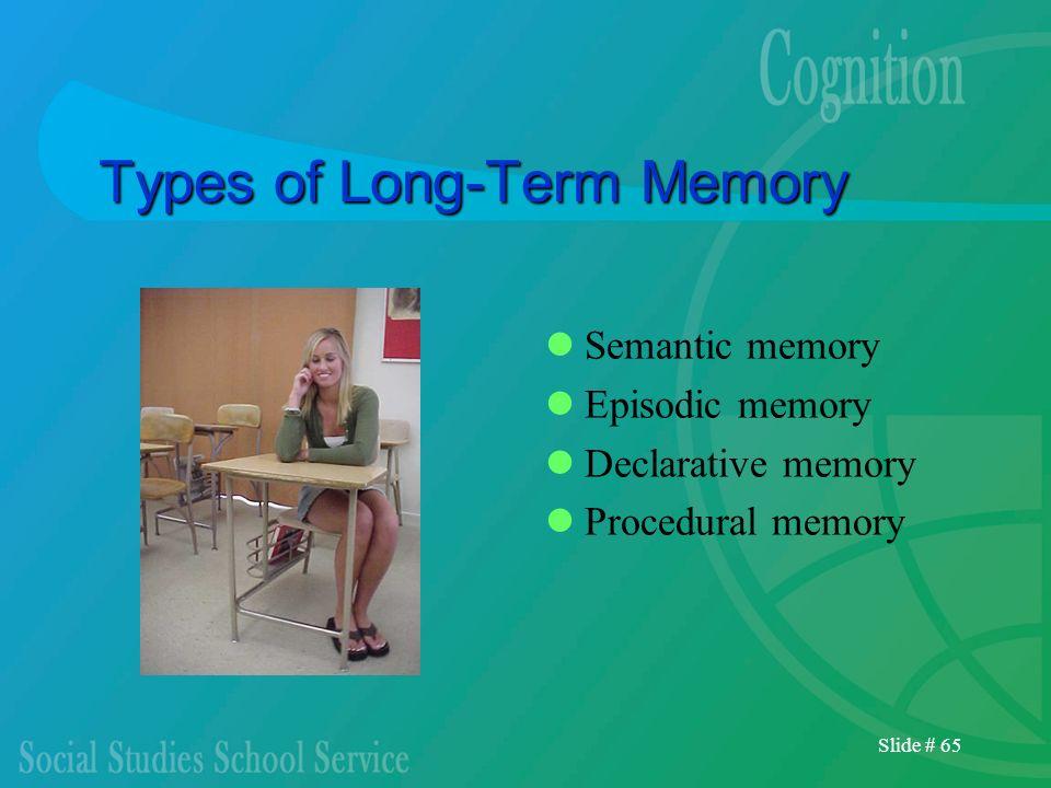 Slide # 65 Types of Long-Term Memory Semantic memory Episodic memory Declarative memory Procedural memory
