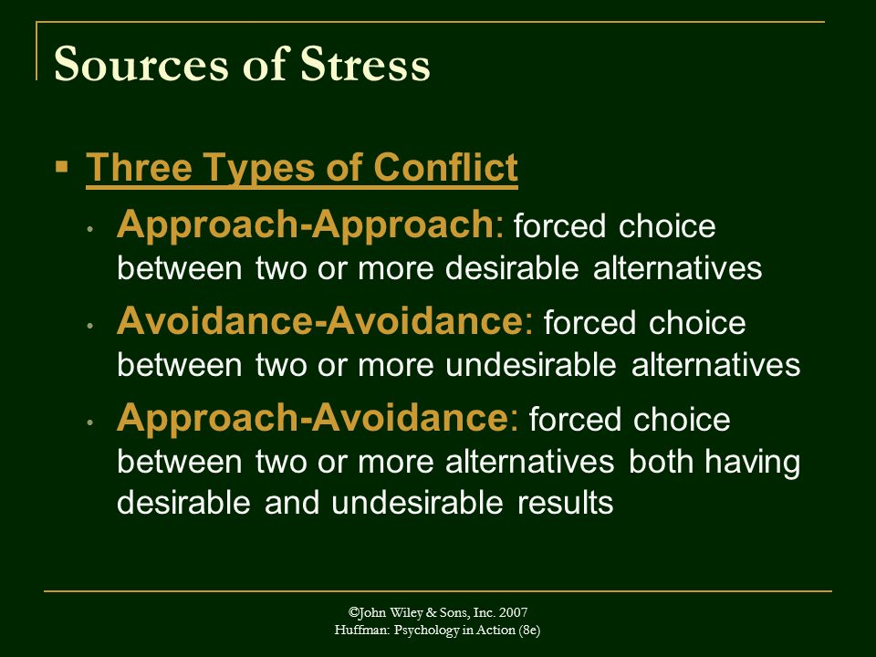 ©John Wiley & Sons, Inc. 2007 Huffman: Psychology in Action (8e) Sources of Stress Three Types of Conflict Approach-Approach: forced choice between tw